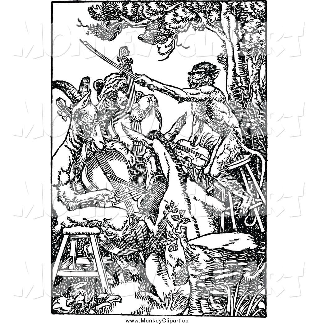 Clip Art of a Black and White Band of Animal Fiddlers by Prawny.