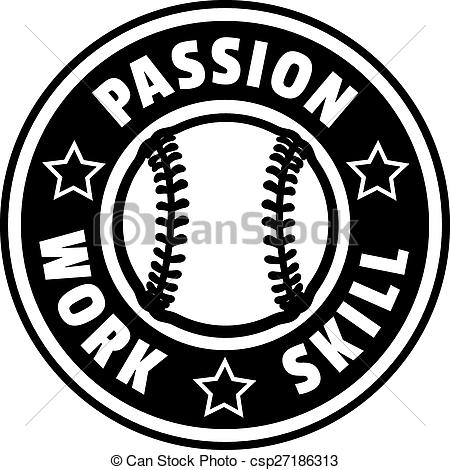 Vector Clip Art of Baseball Passion Work Skill Badge.