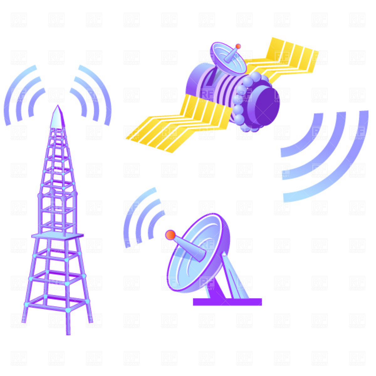 Satellite dish and tower Vector Image #1864.