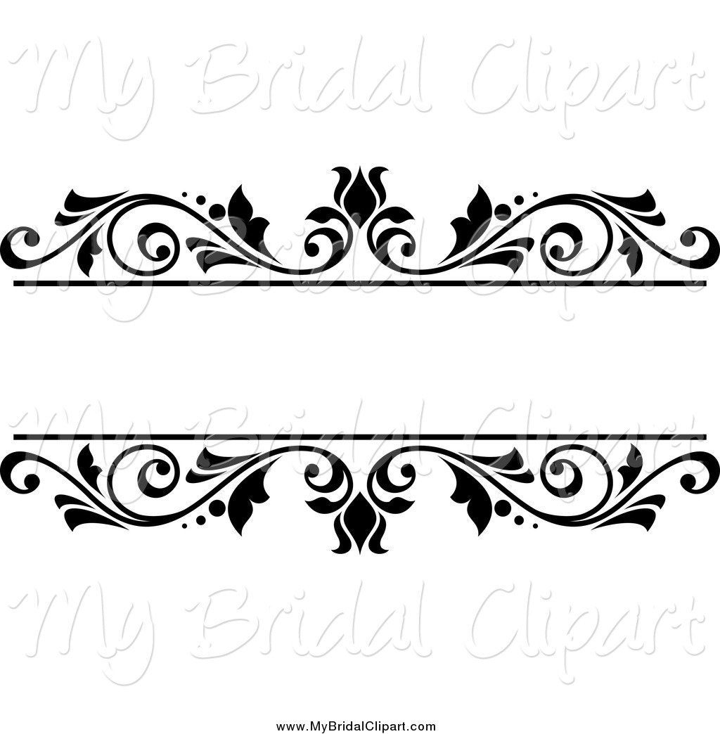 Bridal Clipart of a Black and White Floral Wedding Frame by Vector.