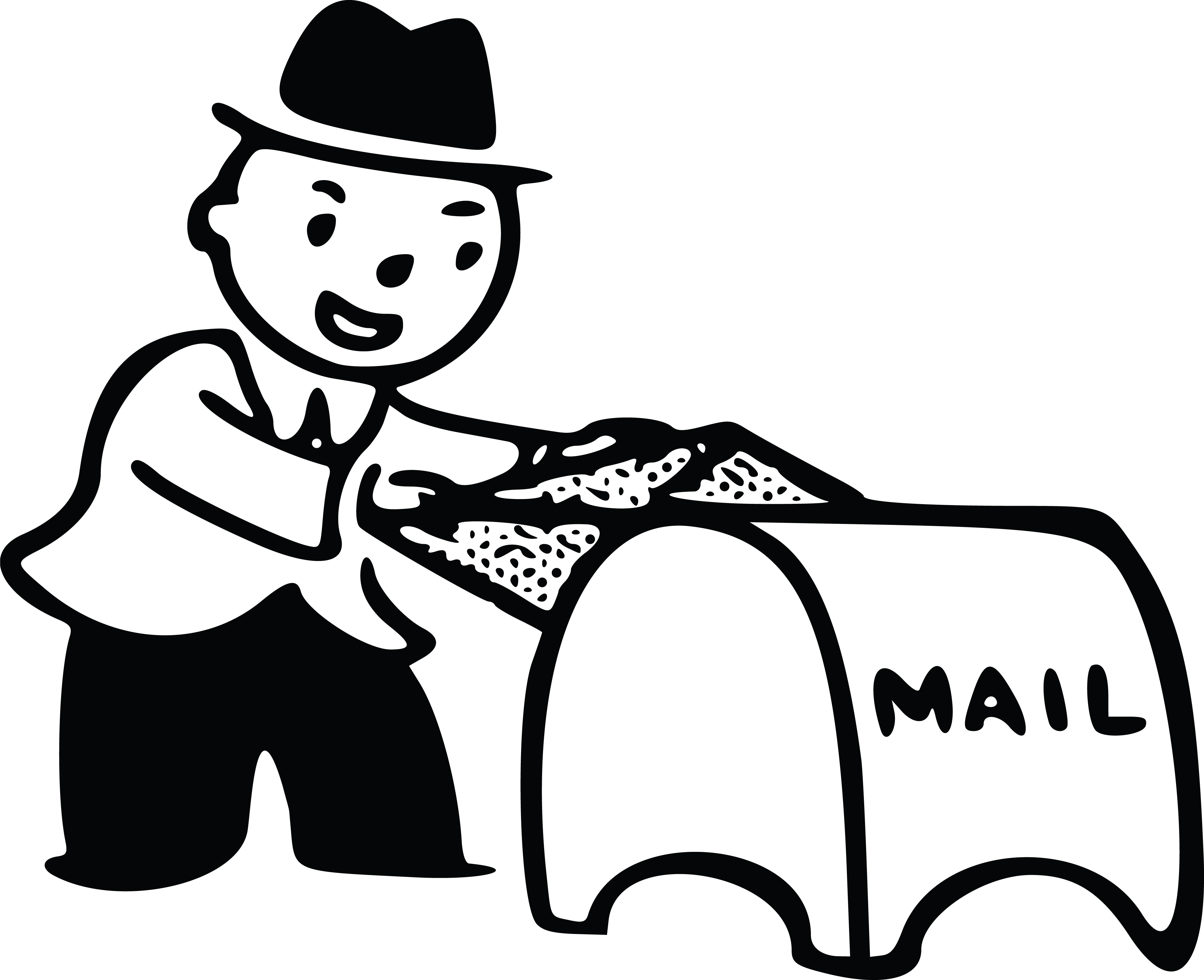 Free Clipart Of A man putting mail in a drop box.