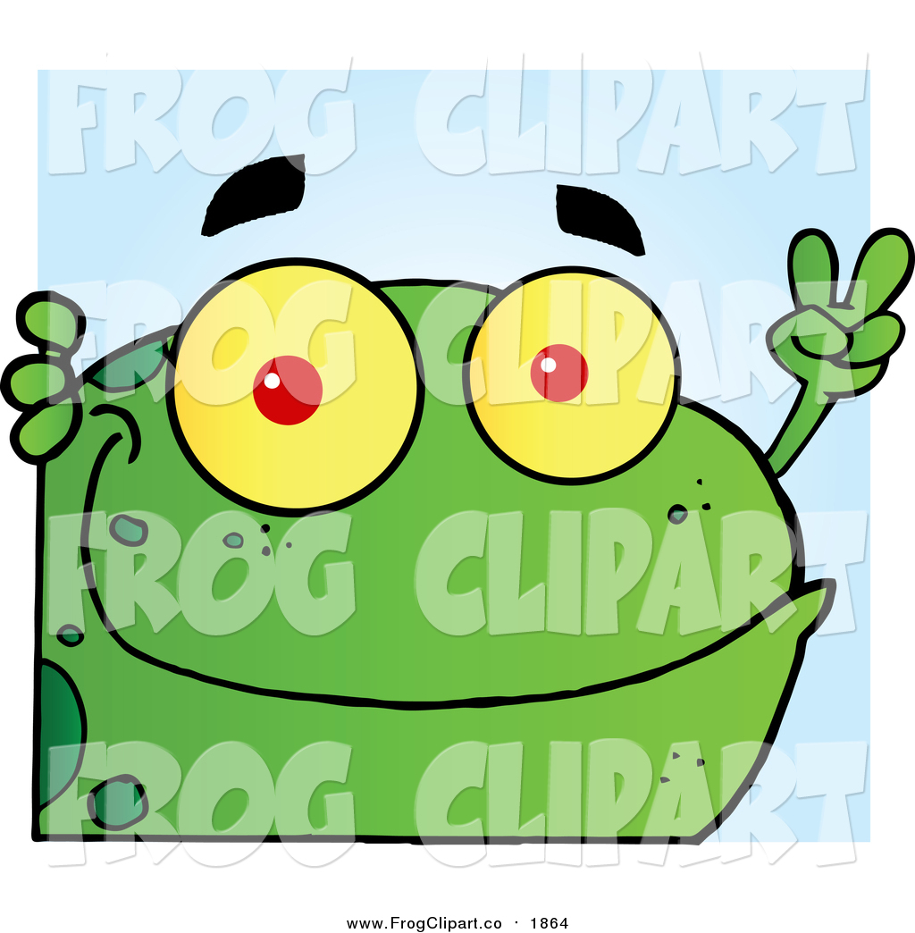 Clip Art of a Green Frog with Peaceful Hand Gesture.