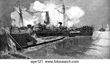 Clipart of The Civil War: The Sassacus Disabled after Ramming.