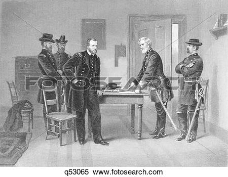 Stock Image of 1860S April 1865 General Robert E Lee Surrenders To.