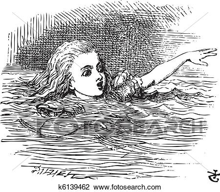 Clipart of Alice in Wonderland. Alice Swimming in her pool of.