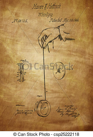 Clipart of Vintage Yoyo Patent Drawing From 1866. Vintage patent.