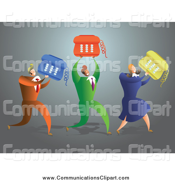 Communication Clipart of a Business Team Carrying Desk Phones by.