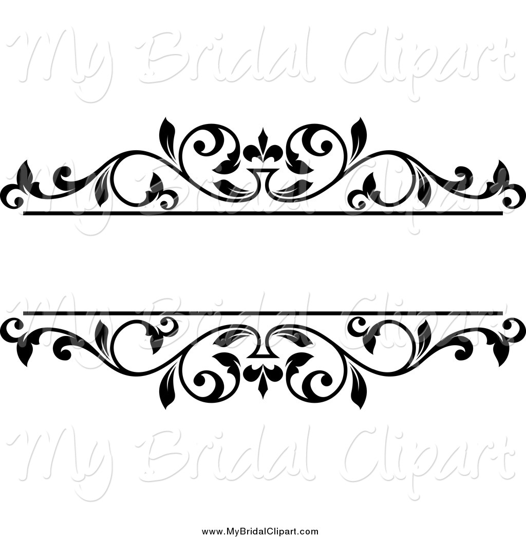 Bridal Clipart of a Black and White Floral Frame with Text Space.