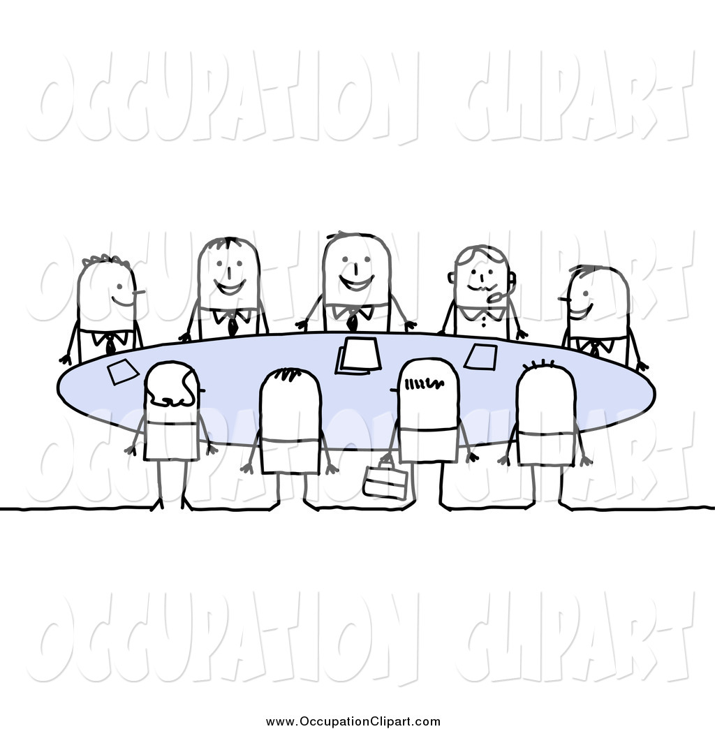 Clip Art of Stick Business People Sitting Around a Table in a.