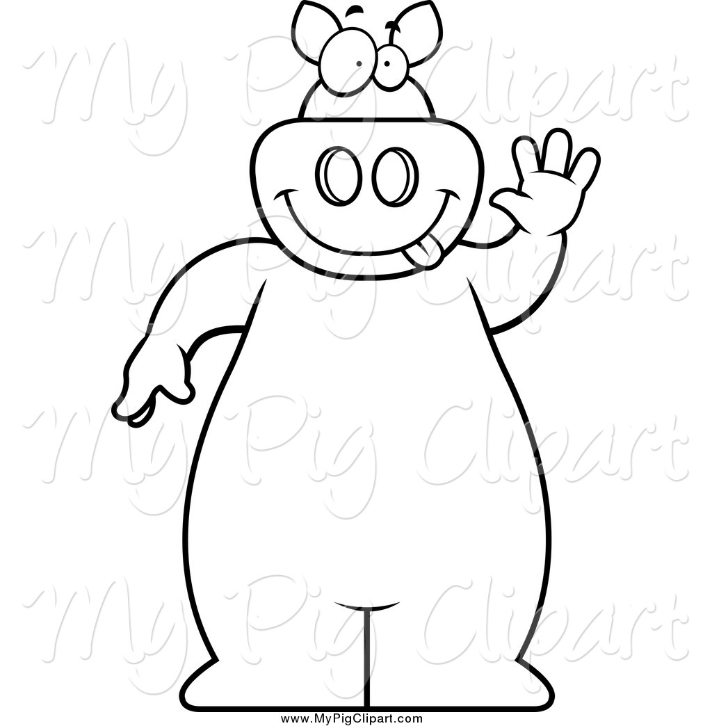 Swine Clipart of a Black and White Goofy Pig Standing and Waving.