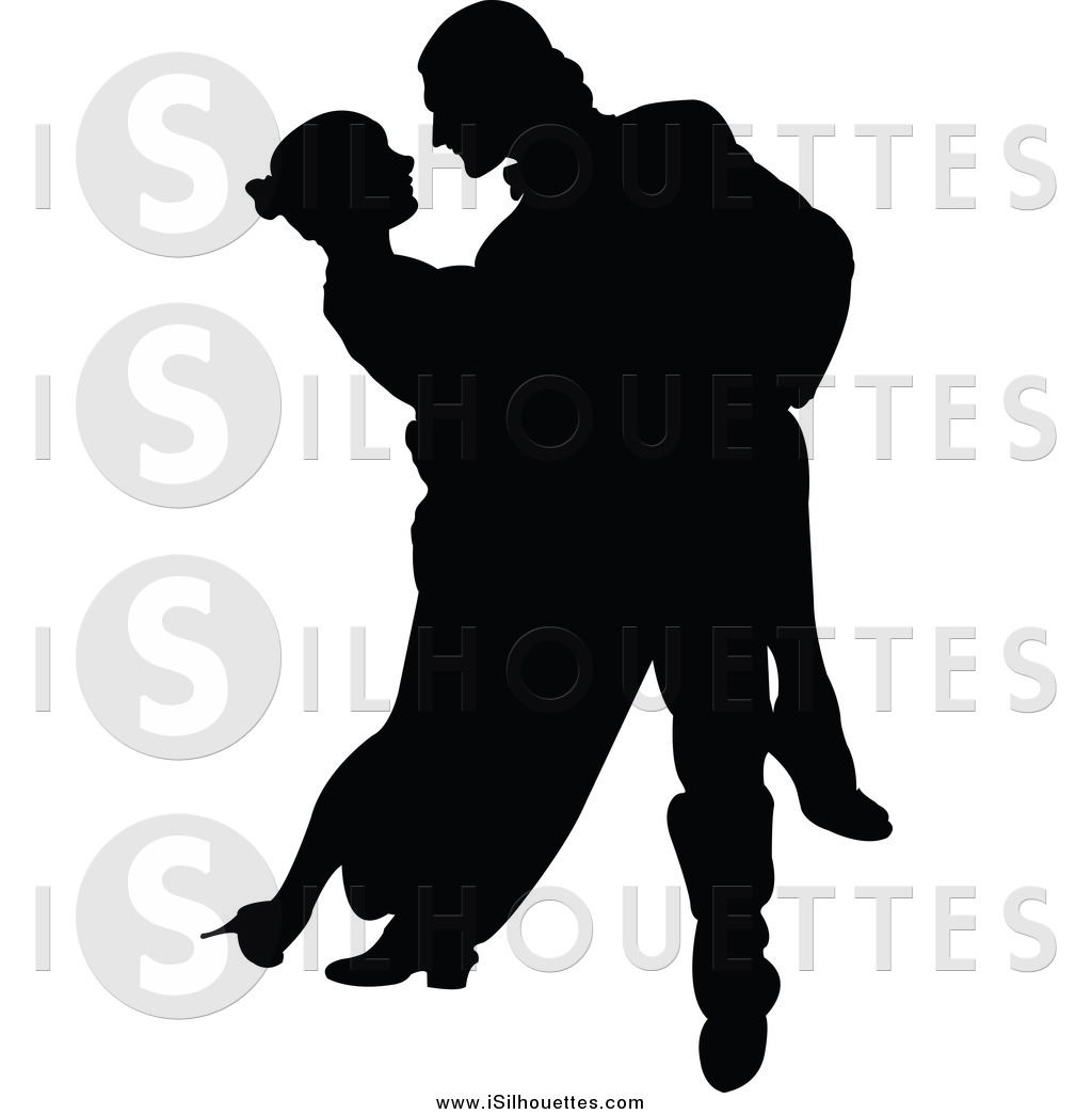 Clipart of a Silhouetted Black Tango Dancing Couple by Pushkin.