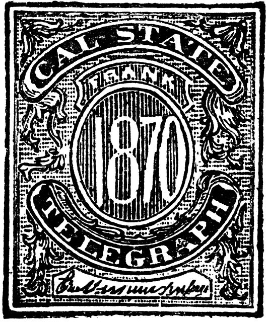 United States Telegraph Stamp Unknown Value, 1870.