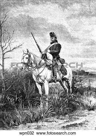 Clip Art of A French Dragoon, c. 1870 wpn032.