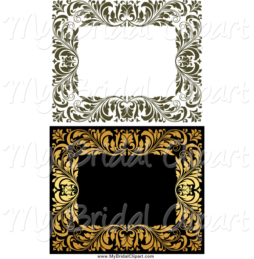 Bridal Clipart of Frames of Ornate Vines by Seamartini Graphics.