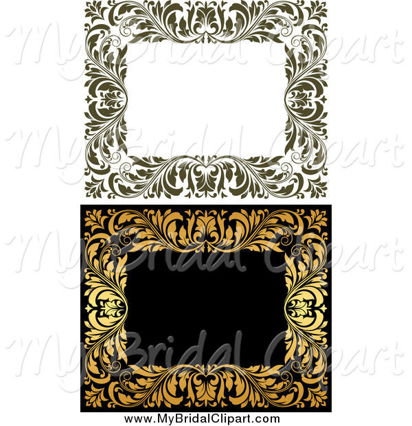 Bridal Clipart of Frames of Ornate Vines by Vector Tradition SM.