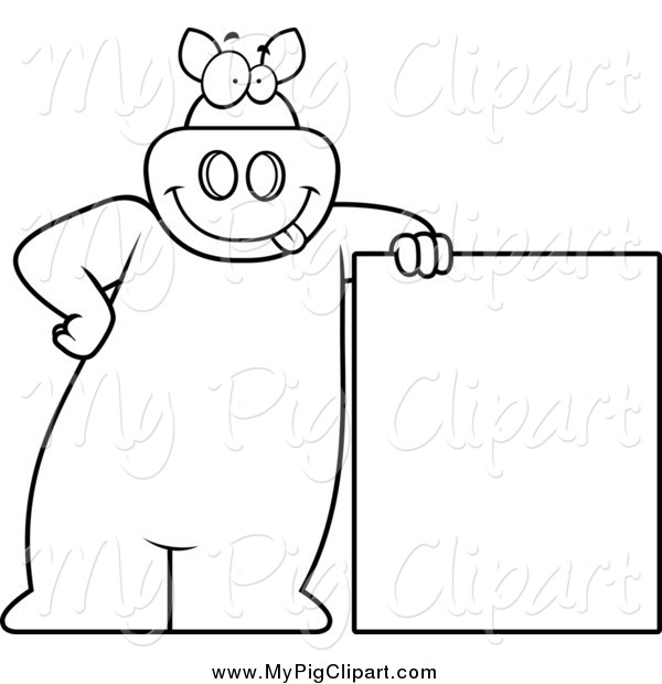 Swine Clipart of a Lineart Goofy Pig Leaning on a Sign by Cory.