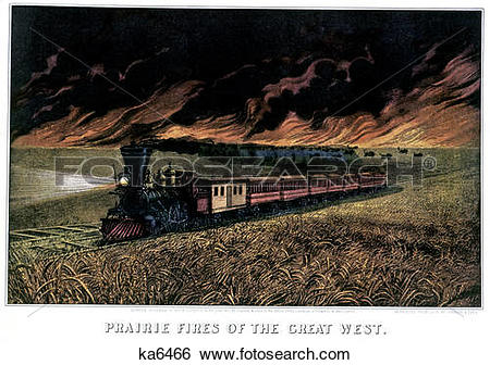 Stock Images of 1870S Prairie Fires Of The Great West.