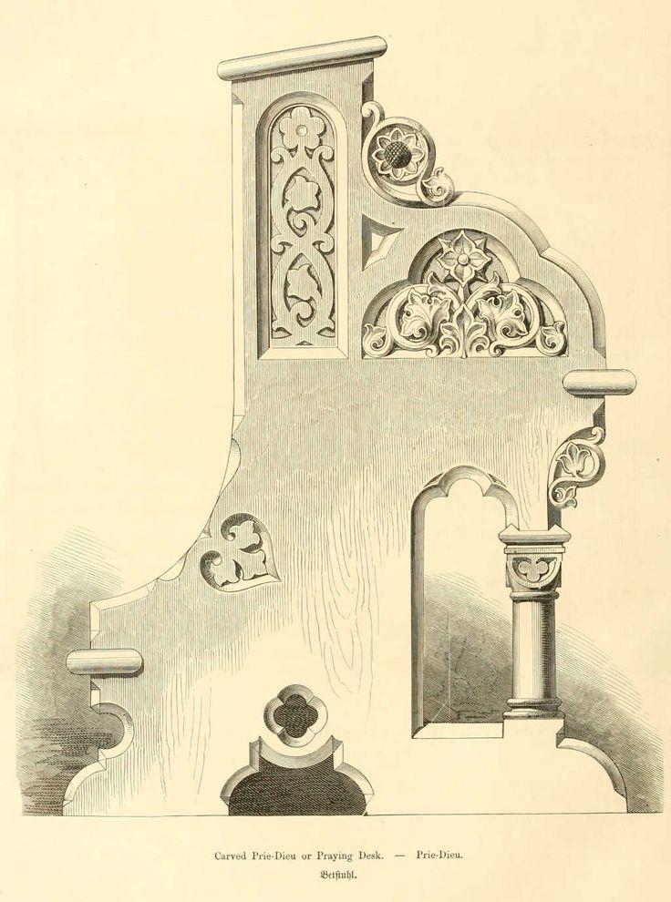 Dessins de mobilier tirés de catalogues de meubles de 1871.
