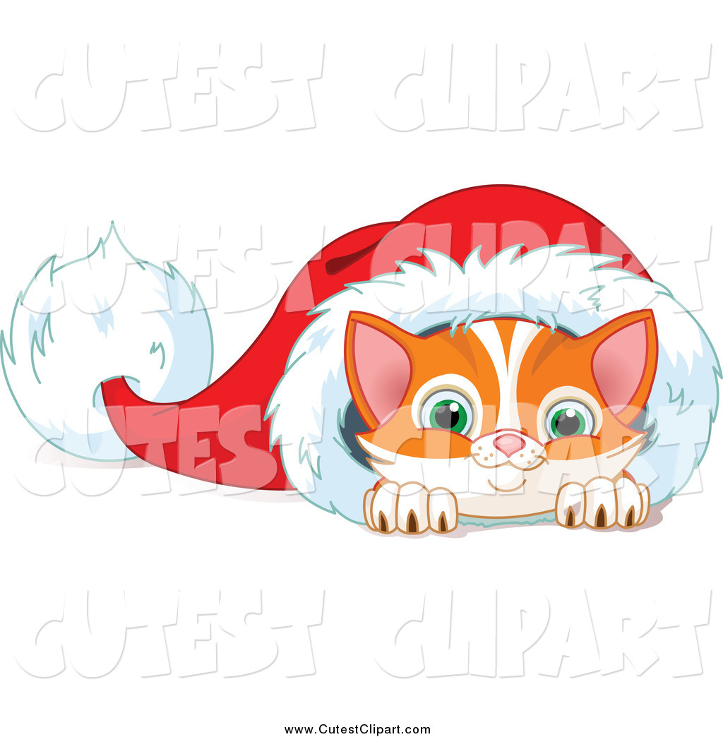 Vector Clip Art of a Cute Orange Kitten in a Santa Hat by Pushkin.
