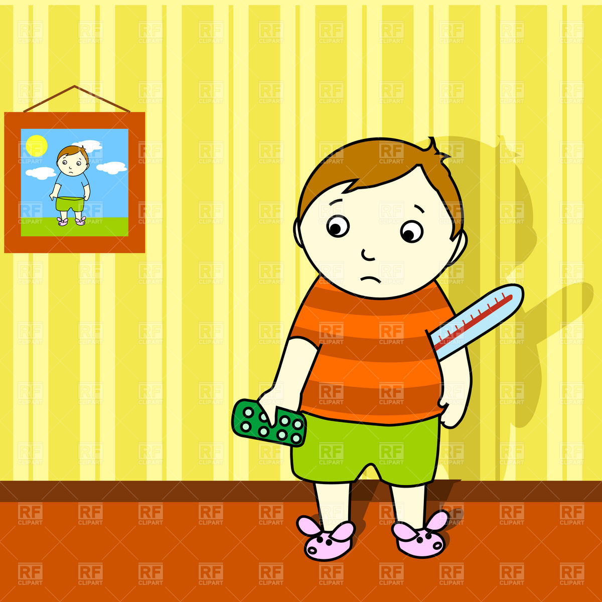 Sick boy with thermometer and pills Vector Image #1873.