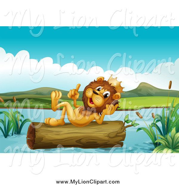Clipart of a Lion King Thinking on a Floating Log by colematt.
