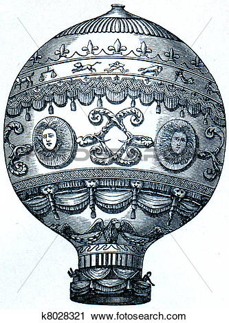 Clipart of Montgolfier balloon, 1873 k8028321.