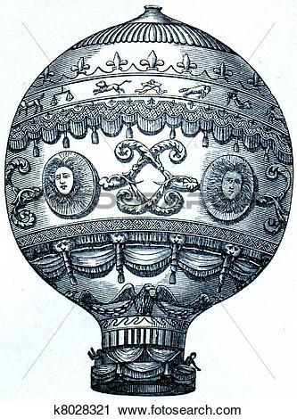 Clipart of Montgolfier balloon, 1873 k8028321.