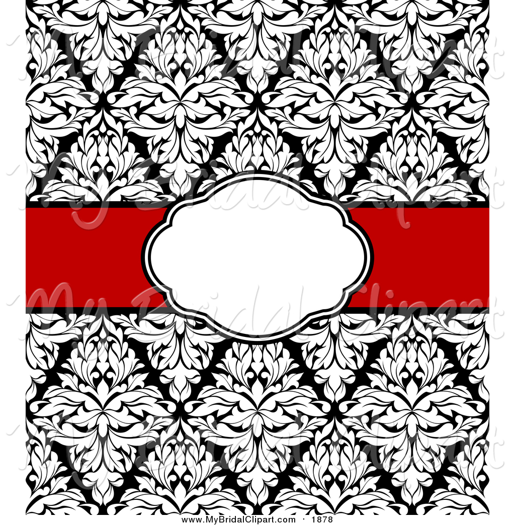 Bridal Clipart of a Black and White Wedding Damask Invite with a.