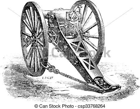 Clip Art Vector of Canon 80mm mountain, model 1878., vintage.