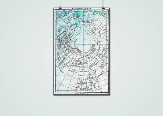 VINTAGE NORTH POLE Map Commercial Use Ok North Pole Map Clipart.