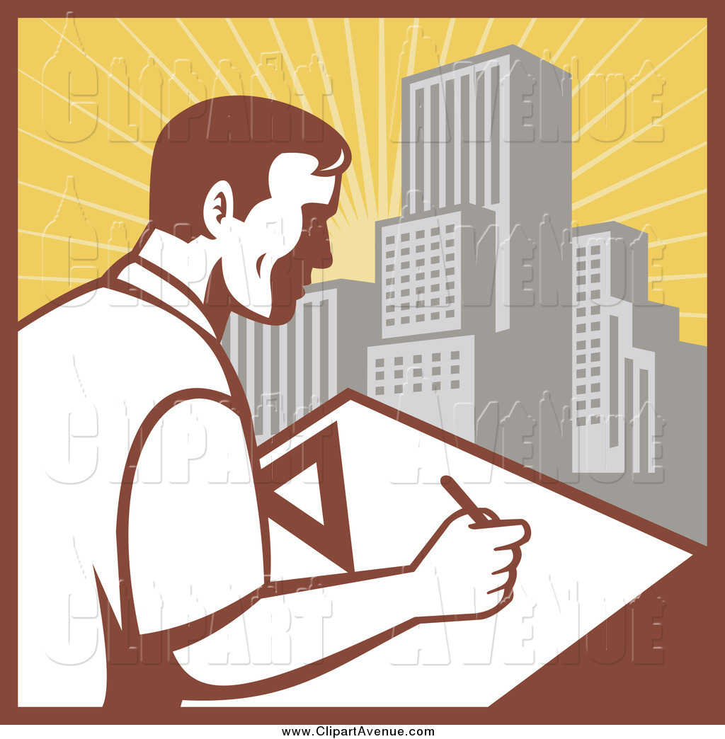 Avenue Clipart of a Male Architect Drafting Against a City by.
