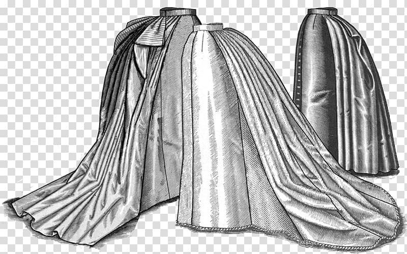 Victorian era 1880s Bustle Skirt Pattern, dress transparent.