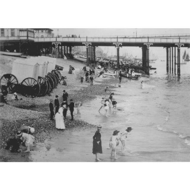 Bathing machine Sea bathing 1880s Beach.