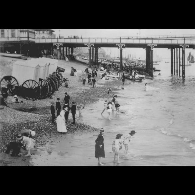 Bathing machine Sea bathing 1880s Beach.
