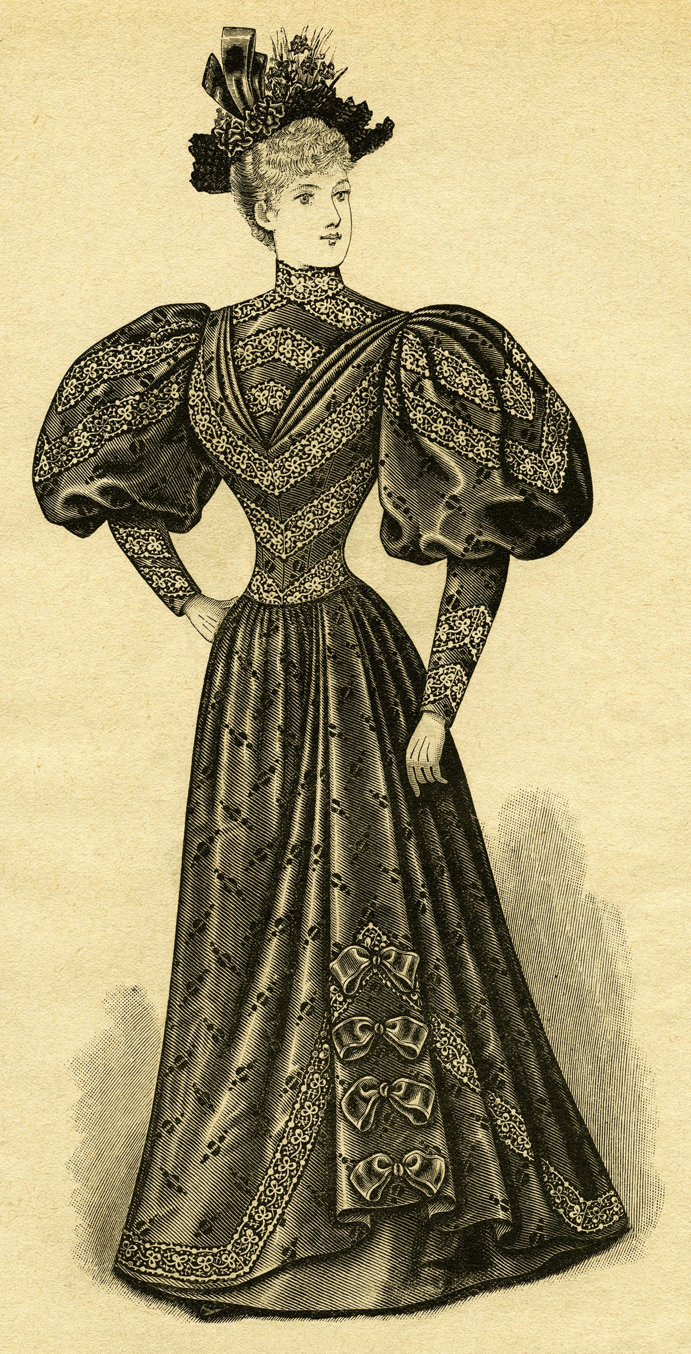 black and white clip art, Edwardian fashion, vintage dress.
