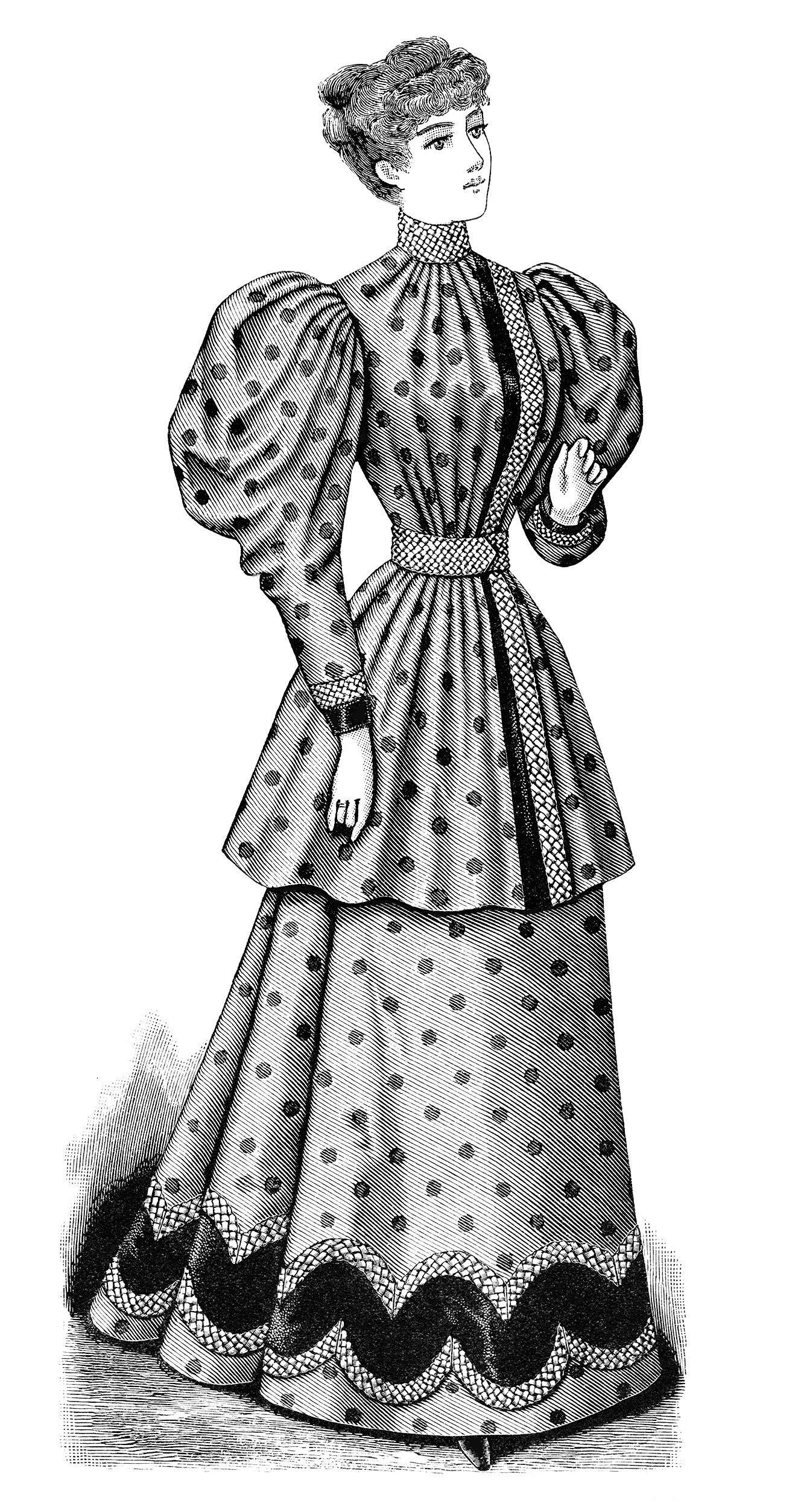 Clip Art Old Fashioned Polka Dot Dress Illustration Black.