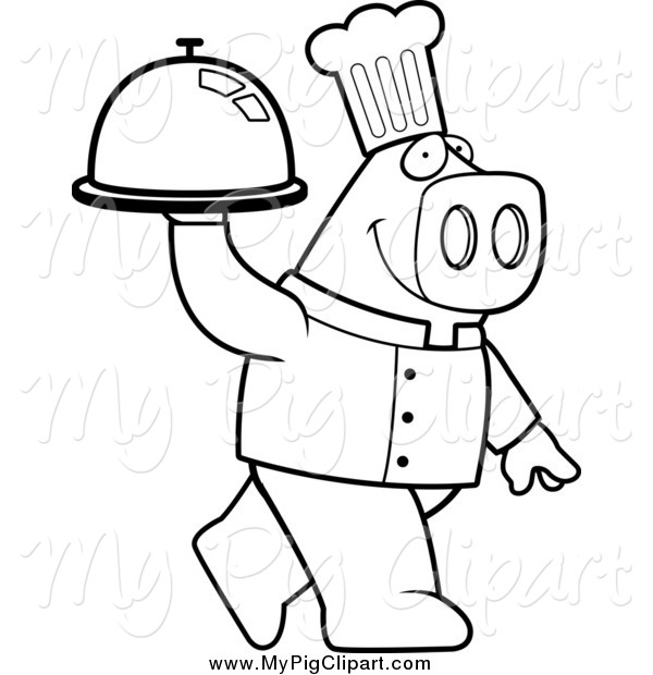 Swine Clipart of a Black and White Pig Chef Carrying a Cloche.