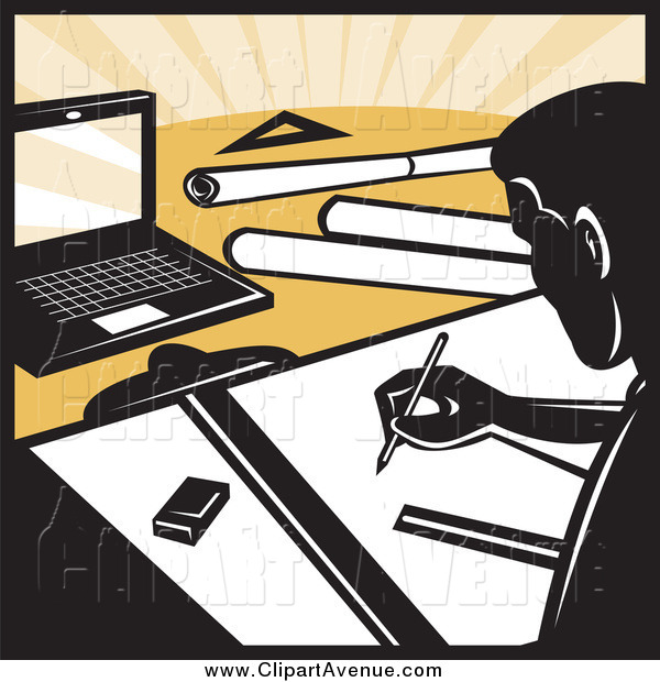 Avenue Clipart of a Architect Drafting at a Desk by patrimonio.