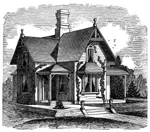 1882 antique house illustration, black and white clipart, old.