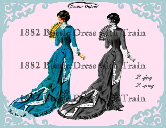 1882 Bustle Dress Steam Punk Clip Art Paris Clip Art Clipart.