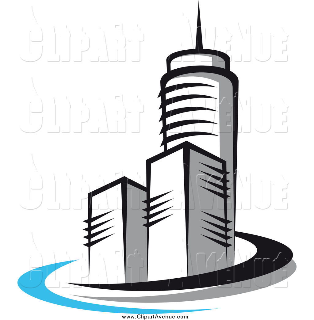 Avenue Clipart of a Skyscraper Buildings and Black, Gray and Blue.