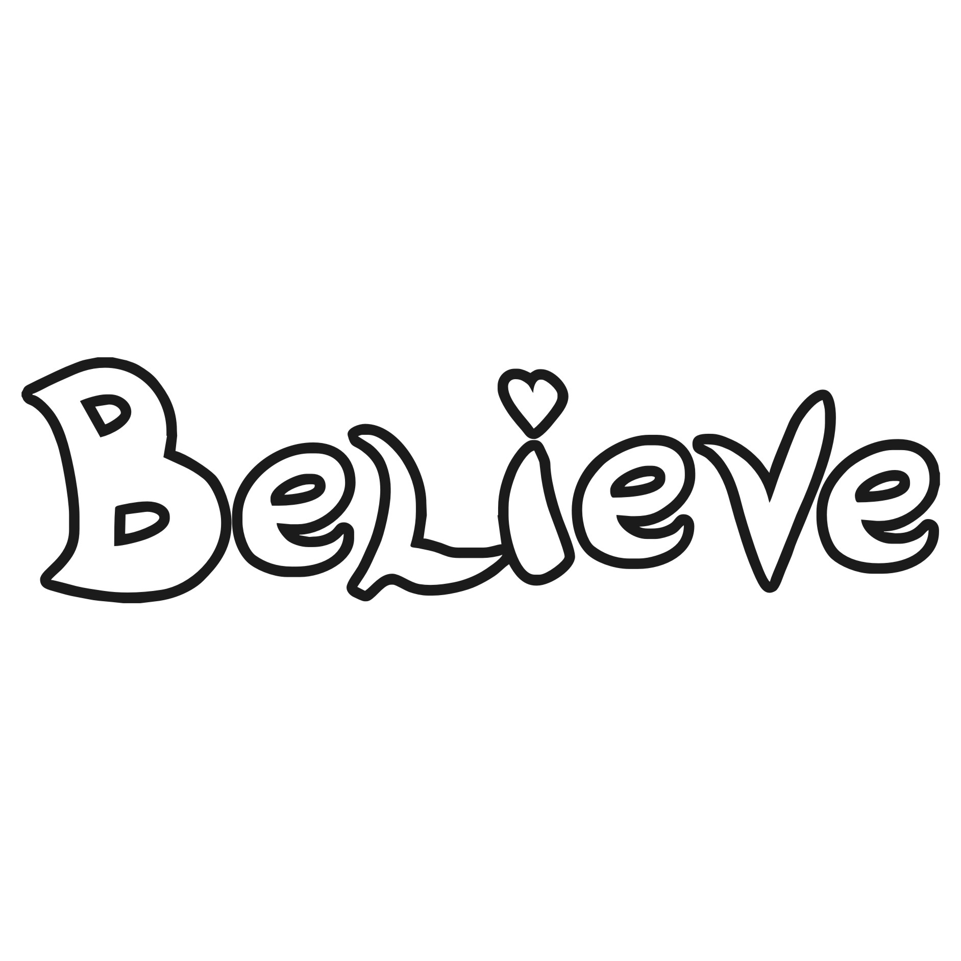 Clip Art of the Word Believe.