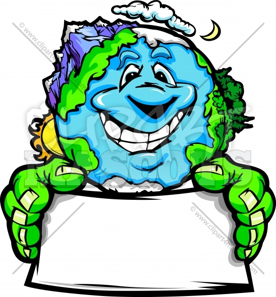 Environmental Clipart Graphic Vector Cartoon of Planet Earth with Sign.