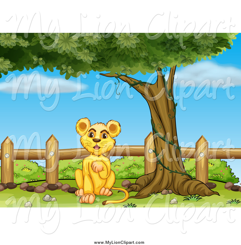 Clipart of a Lion Cub Sitting Under a Tree by a Fence by colematt.