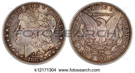 Stock Photo of old silver coin dollar of usa 1883 year k12171304.