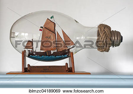 Stock Photograph of Ship in a light bulb, Norderney sloop, from.