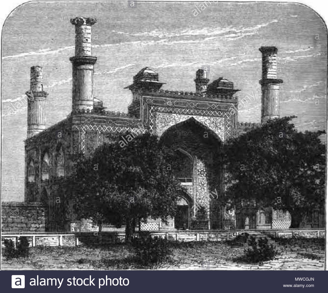 English: Entrance to the Tomb of Akbar . 1883. clipart.