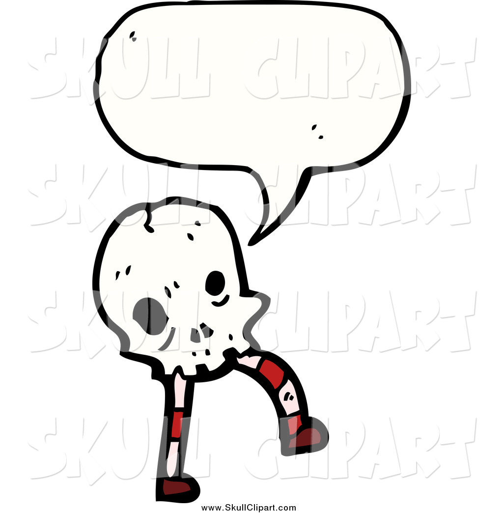 Vector Clip Art of a Talking Skull with Legs by lineartestpilot.