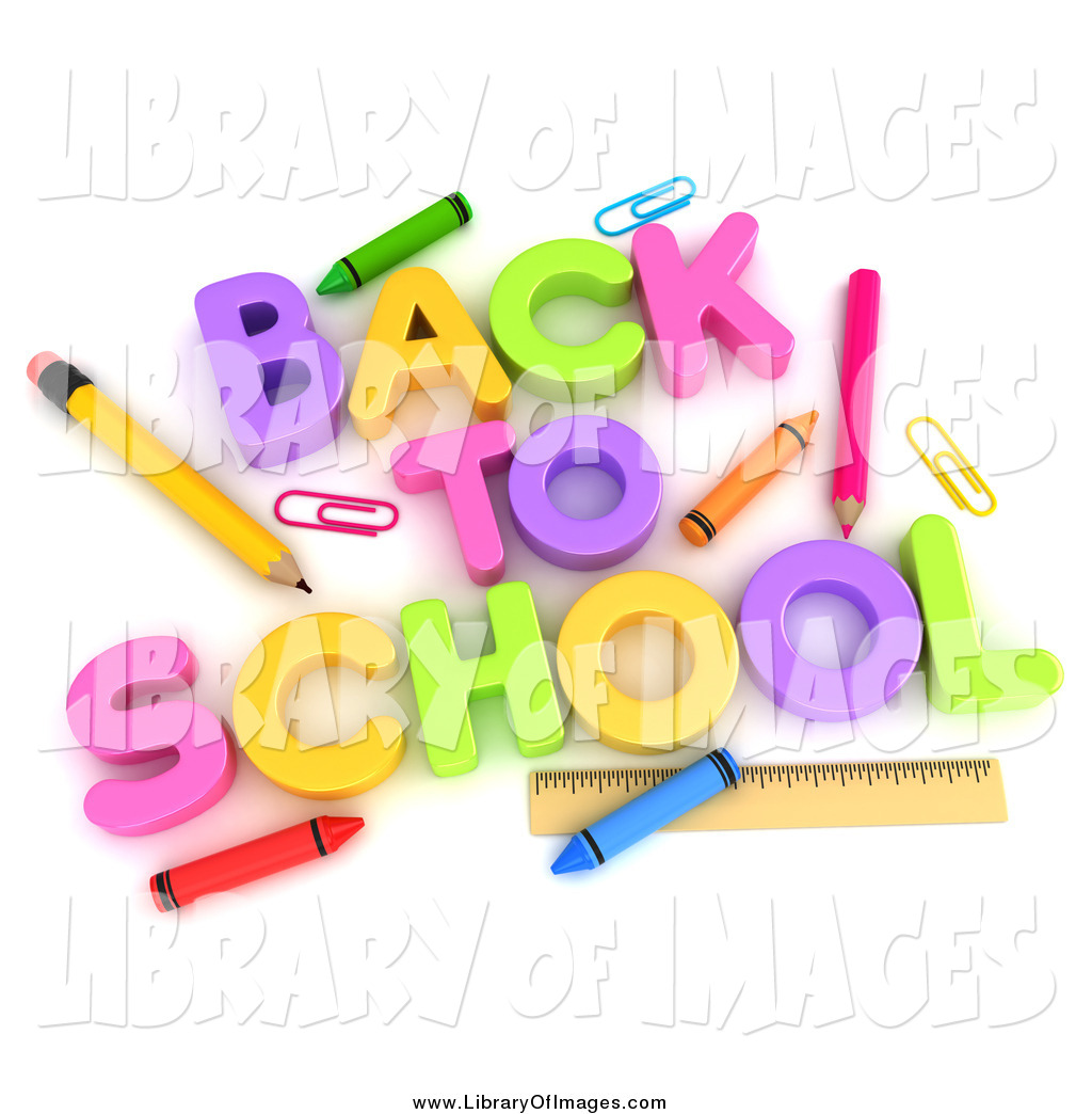 Clip Art of 3d BACK tO SCHOOL and Accessories by BNP Design Studio.
