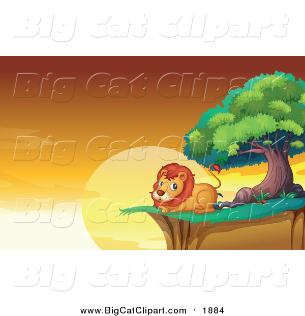 Big Cat Cartoon Vector Clipart of a Male Lion Resting on a Cliff.